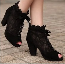 2016 summer cutout lace gauze women's shoes thick heel platform open toe boots shoes lace up women shoes summer sandals
