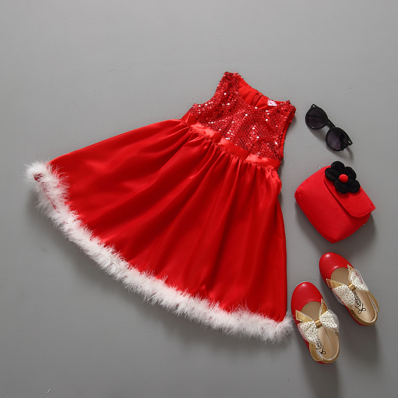 Dress girl dress 2015 girl dress clothes christmas clothing sequin red