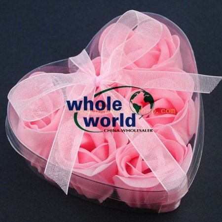Pink 6pcs/set Handmade Wedding Favor Rose Bud Petals Soaps,gift sets for Valentine wedding,100sets/lot,free shipping(China (Mainland))