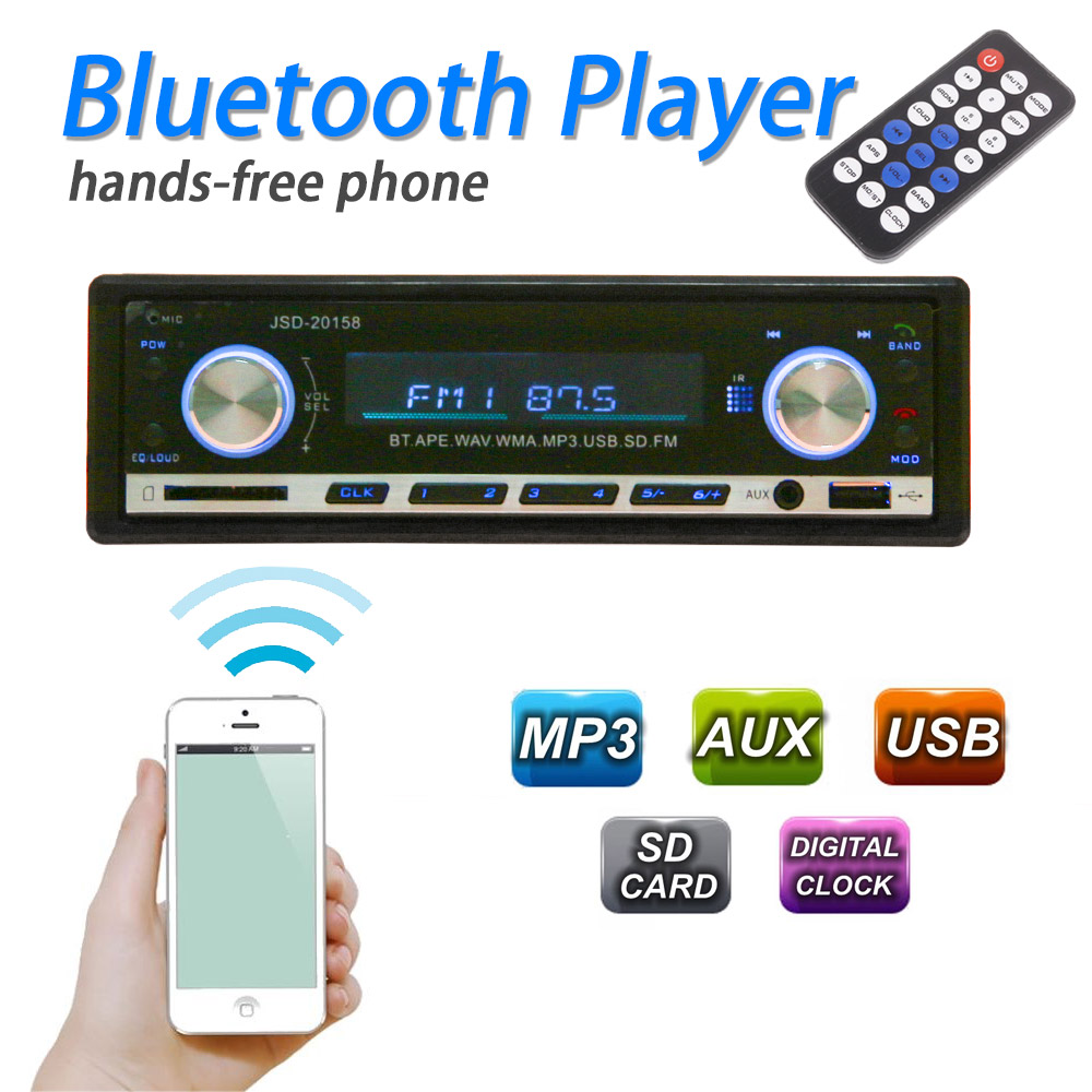 60W *4 Bluetooth Car Audio Stereo In Dash Auto Radio MP3 Player FM Aux Input Receiver USB SD With Remote Controller(China (Mainland))