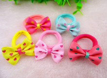 10 Pcs/Lot 2015 New Baby Girl Hair Rope Heart Striped Dot Bow Elastic Hair Bands Rubber Holders Scrunchy Bowknot Kid Hair Holder