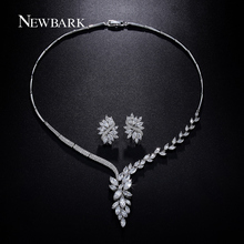NEWBARK Wedding Jewelry Set Bridal Necklace Flower Stud Earring Crystal Choker Statement Necklace Bridesmaid Sets Christmas(China (Mainland))