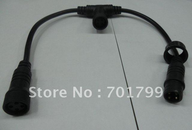 4core  waterproof T type splitter;black color: the male connect's diameter:15mm
