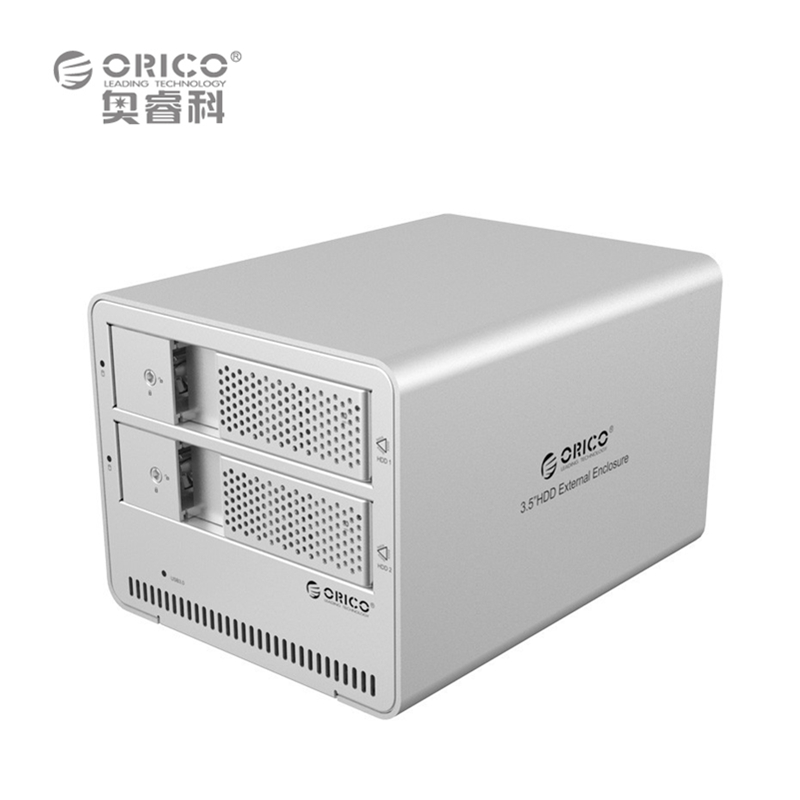 ORICO 9528U3 2-bay USB3.0 Aluminum 3.5'' External SATA HDD SSD Enclosure Sliver Box Support 8TB Storage EU Plug (No Hard Disk)(China (Mainland))
