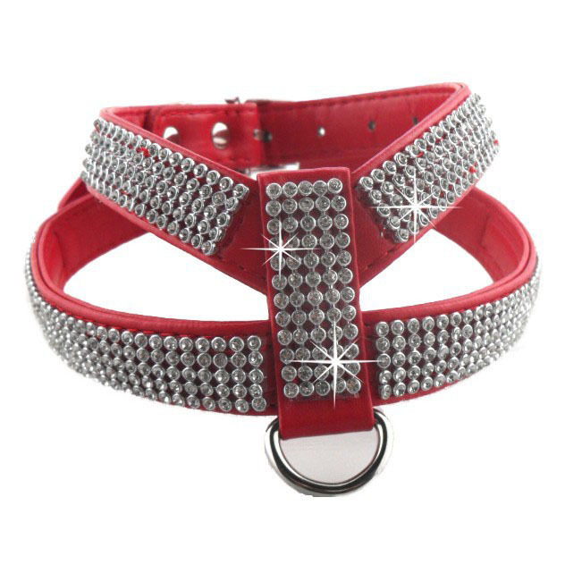 Pet Dog Harness Bling Rhinestone PU Leather Puppy Dog Collars Safety Control Walk Extra Small Medium Size chien collier strass