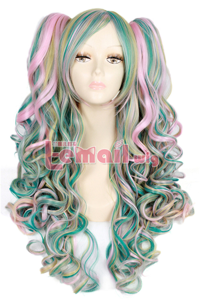 New Arrival Multi color long clip-on wave Lolita cosplay wig 65cm/26inches<br><br>Aliexpress