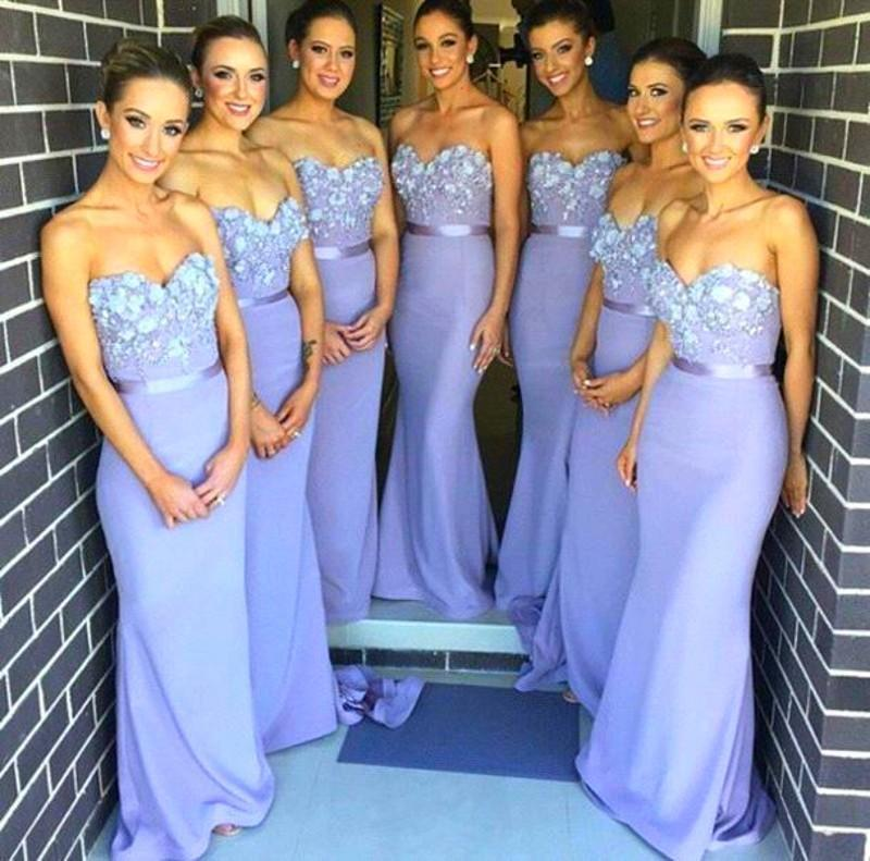 2015 Fashion Sweetheart Mermaid Long Bridesmaid Dresses Lavender Appliques Maid of Honor Dresses Plus size Wedding Party Gowns(China (Mainland))