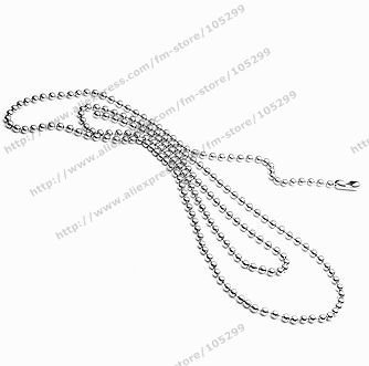 Free shipping wholesale 316l chains 2.2mm 18 inch stainless steel ball necklace jewelry ball chain never running color(China (Mainland))