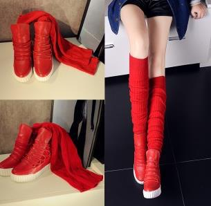 fashion black/red knee-high Boots For Women Scrub Upper Stretch Fabric Slim Boots winter autumn girl long boots brand designer