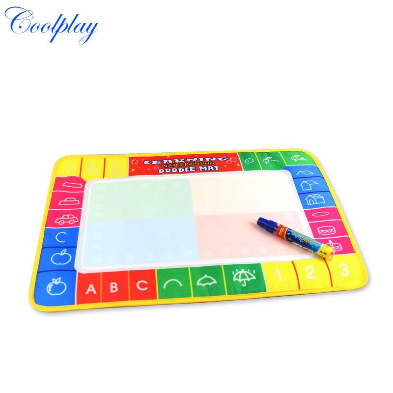 Free shipping cp1323 46x30cm 4 color Water Drawing Toys Mat Aquadoodle Mat&1 Magic Pen/Water Drawing board/baby play mat(China (Mainland))