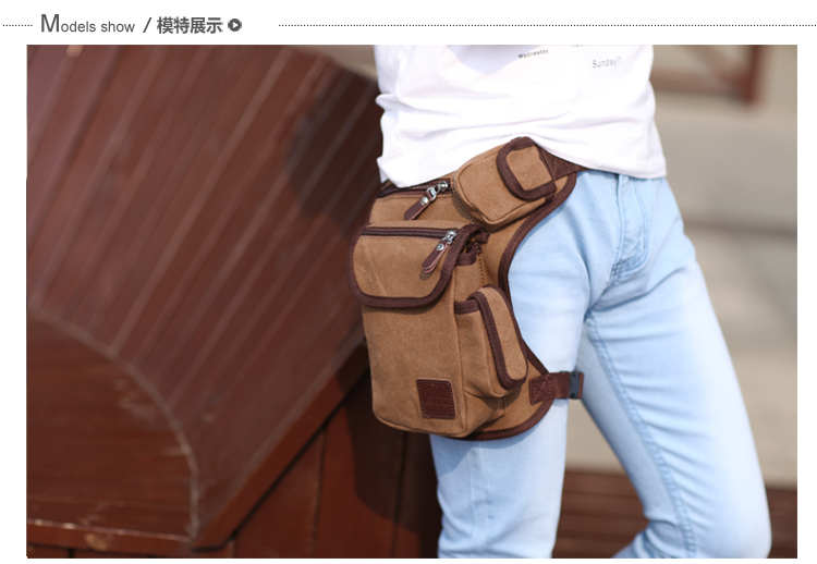 High Quality Men Belt Bag Canvas Leg Bags Men Travel Bicycle Bags Waist Pack Bag Fanny Pack(China (Mainland))