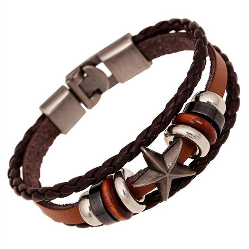 Handmade braided charm leather bracelet vintage woven ...