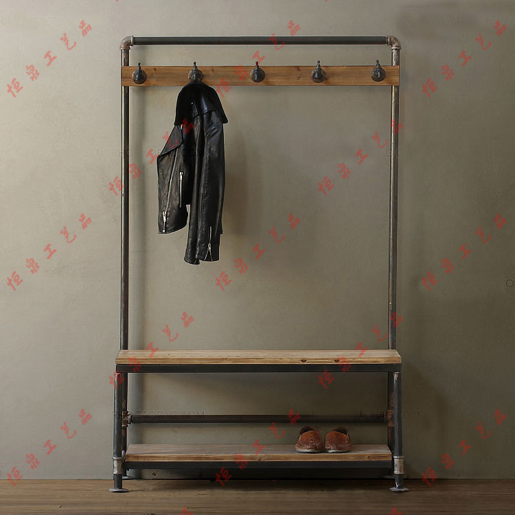 Nordic american country industrial pipes iron coat rack for Porte a porte clothing