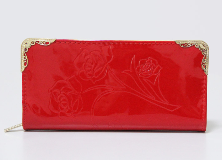 2014 New female red leather wallet womens leather wallets free shipping(China (Mainland))