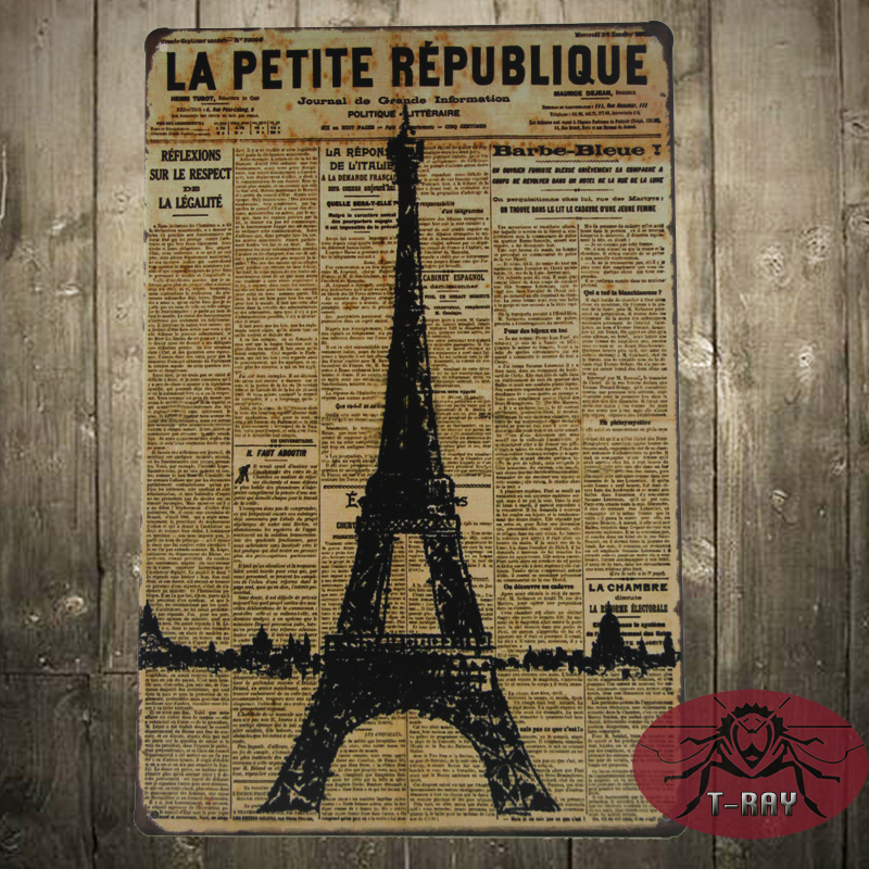 Metal sign vintage retro planet of the Eiffel Tower Tin wall plaque gift J-32(China (Mainland))