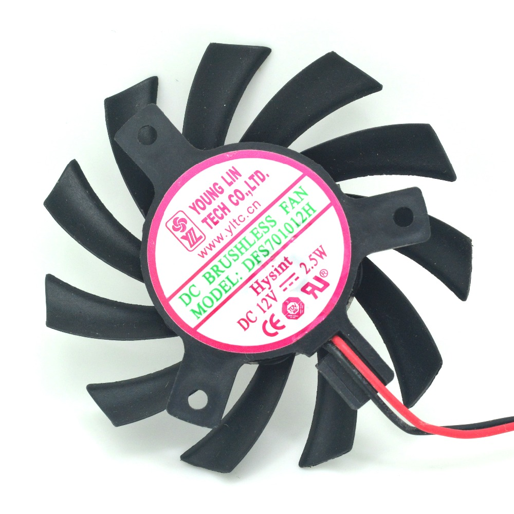 YOUNG LIN DFS701012H 2 Pin DC 12V 2.5W 65MM Video Card Cooling Fan 40MM Graphics Card Cooler Fans(China (Mainland))