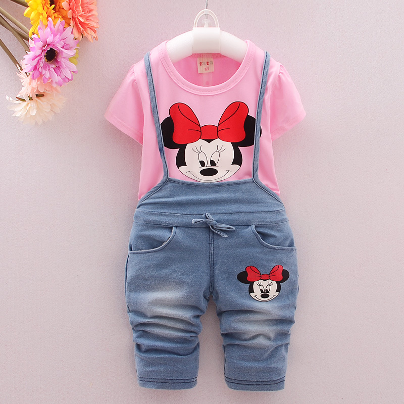Baby girls clothes 2016 Summer new children sets with chracter print nice cotton baby girls clothing set A420(China (Mainland))