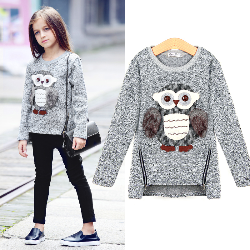 2016 New Arrival Big Girls Kids Coat Jackets Cartoon Cute Owl Casual Cotton 3-16y Old Girl Boy Clothes Lining Fleece For Spring(China (Mainland))