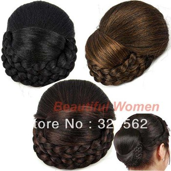 New Fashion Women Girl Clip in Hairpiece Clip in Hair Bun Ponytail Scrunchie Dark Brown free shipping 7832