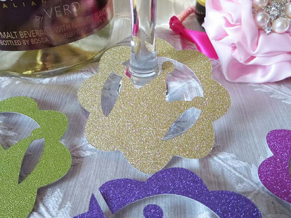Glitter Crown Princess wine glass ring charms wedding engagement bridal shower Bachelorette Party table decors(China (Mainland))