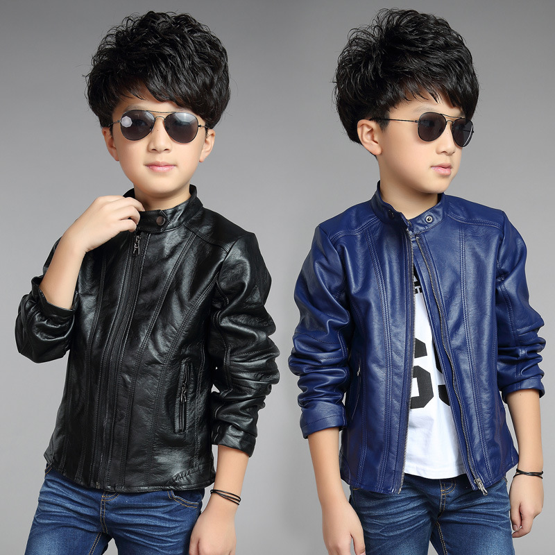 2015 Children Fashion Outerwear Spring & Autumn New baby Boys Coats Faux Leather coat jacket children clothing top suit 100-160(China (Mainland))