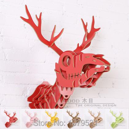 Bone Deer Head,Home Decoration,Wall Art Diy Wooden Craft Wall Decor Wall Stickers Home Decor,Christmas Decoration,Wood Animal(China (Mainland))