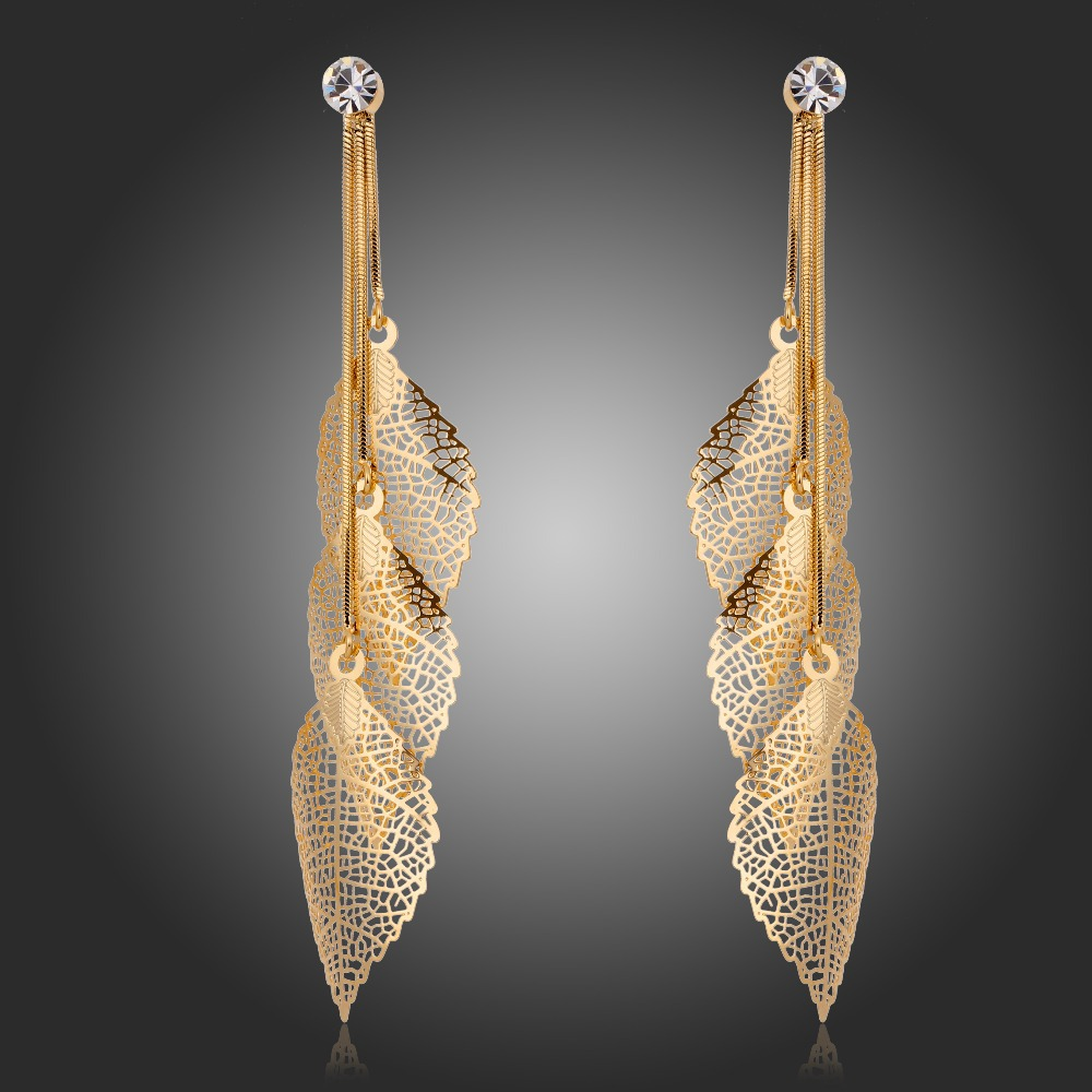 18K Gold Plated Crystal Charms Snake Chain Filigree Leaves Long Tassel Drop Dangle Earrings Party Jewelry