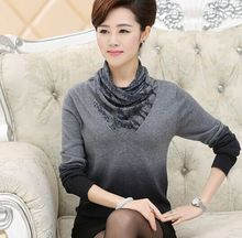 2015 new turtleneck sweater women's sweater gradient color all-match autumn winter sweater large size women(China (Mainland))