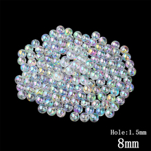 Buy 8MM Transparent Rainbow Color Round Water Beads 100pcs/lot Wholesale European Decoration Hole Beads Kids DIY Jewelry Making for $2.04 in AliExpress store