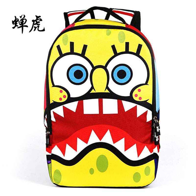 2016 New Arrival Hot spongebob cartoon embossing boys and girls students school bags travel backpacks outdoor bag famous brand(China (Mainland))