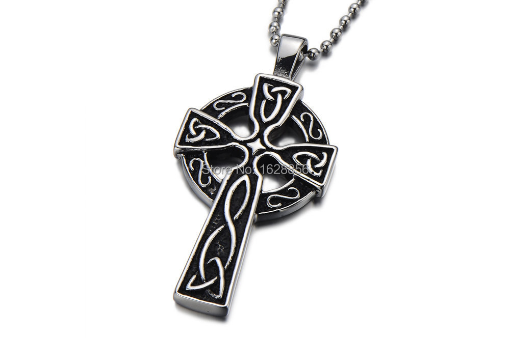 2015mens celtic cross necklace black cross necklace men for Black and blue jewelry cross necklace