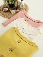 Back button doll shirt Literary fresh wild loose peter pan collar long sleeve shirt blouse mori girl 2016 Spring Summer(China (Mainland))