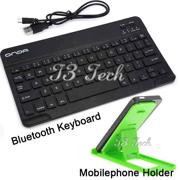 Onda Ultra Slim Bluetooth Wireless Tablet Keyboard Built-in Battery for iPad for Samsung Acer Asus Tablet + Tablet Stand Holder(China (Mainland))