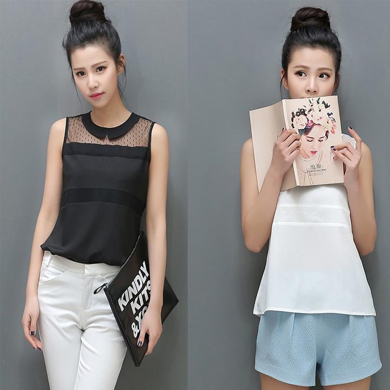 Summer new 2014 Korean doll lace chiffon women blouse shirt 2 colors for women work wear(China (Mainland))