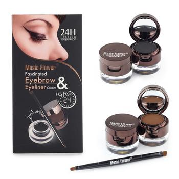 Hot 4 In 1 Brown + Black Gel Eyeliner Eyebrow Powder Makeup Set Kit Waterproof Long Lasting Eye Liner Eye Brow Make Up Cosmetics