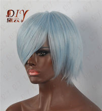 xd j001531 Blue Short Loli Women Light Natural Straight Wig Cosplay Costume Heat Full Hair