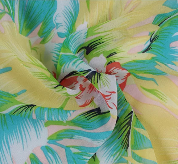 1meter/lot New Fashion leaf green prints chiffon fabric for dress shirts scarf georgette wrinkle spring fabric 100x150cm(China (Mainland))