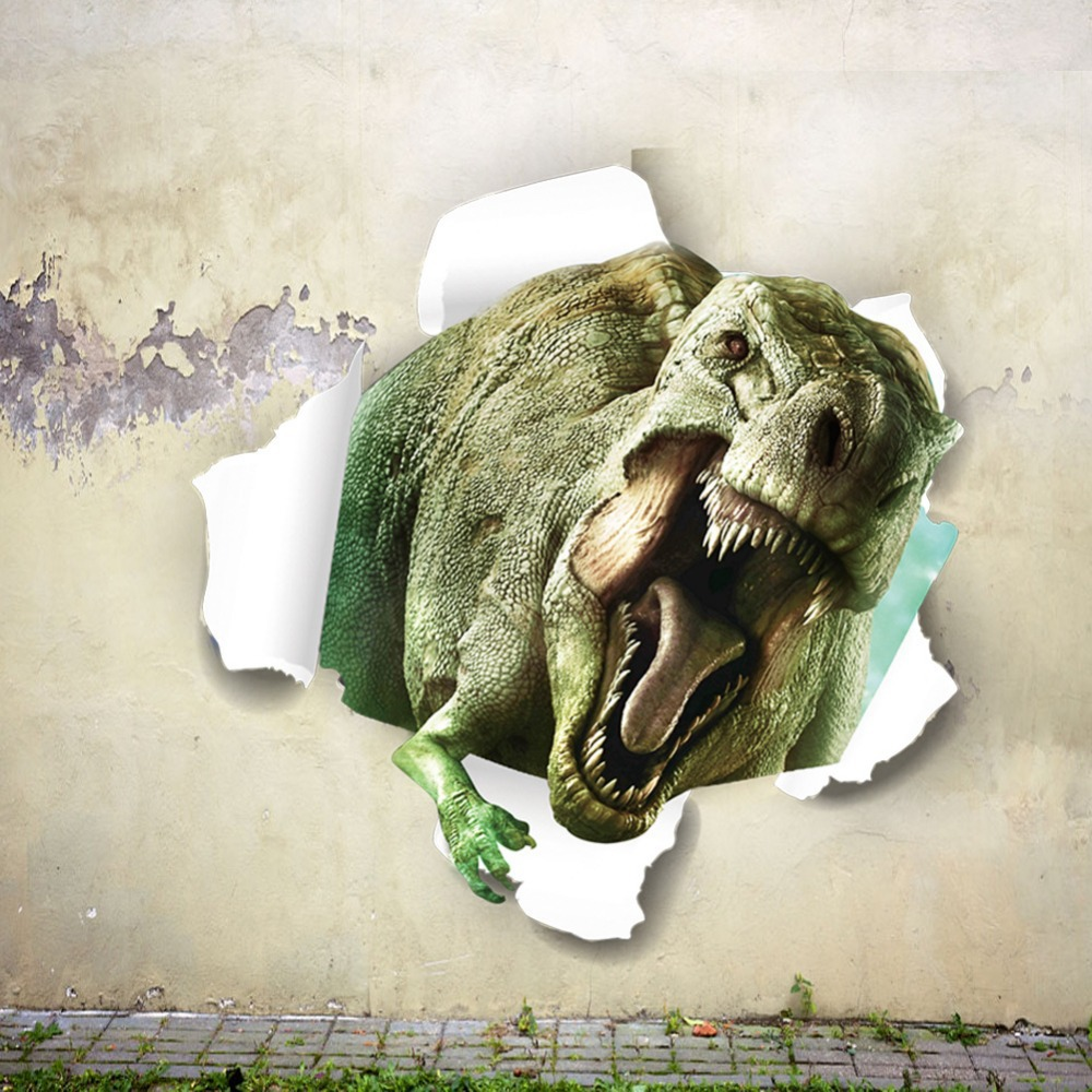 Jurassic Park dinosaur-dimensional wall stickers children's room bedroom living backdrop &* - Shanghai Paradise home decoration store