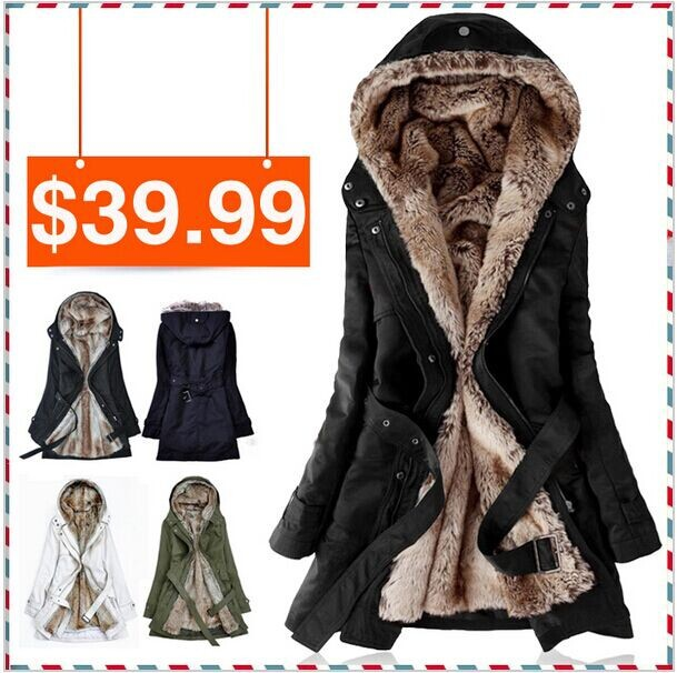 Free shipping Faux fur lining womens fur Hoodies Ladies coats winter warm long coat jacket cotton clothes thermal parkasОдежда и ак�е��уары<br><br><br>Aliexpress