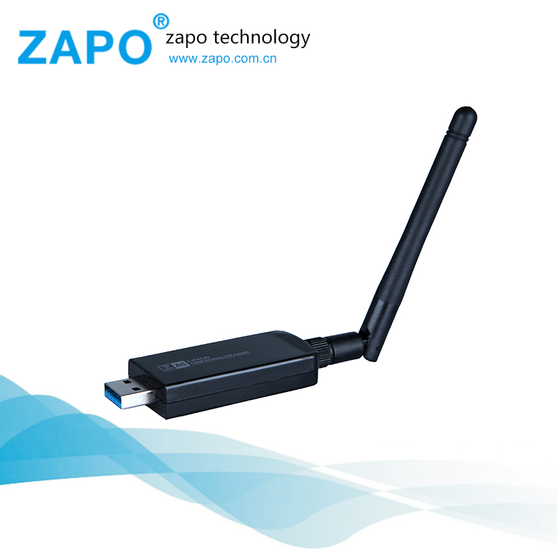 ZAPO adapter wireless network Adapter USB WiFi Host Interface Ethernet lan 2.4GHz-5.8GHz 802.11a/b/g/n/ac2T2R 1200Mbps wifi card(China (Mainland))
