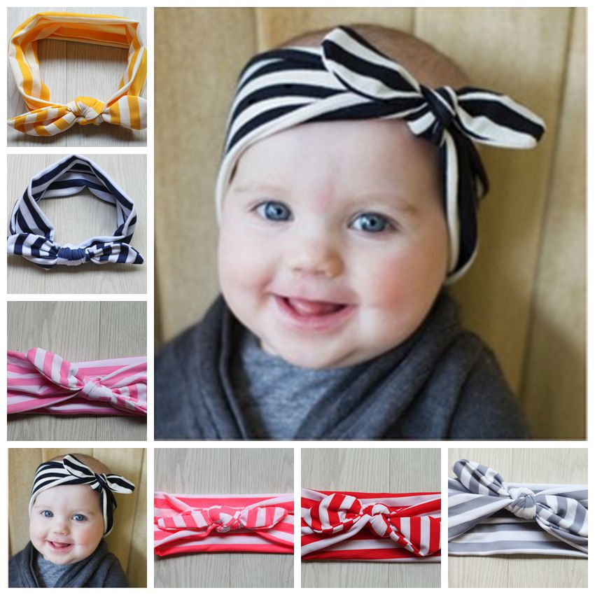 New Baby Cotton Headband Zebra stripes knot tie headwrap Vintage Head Wrap Striped Prop stretchy Knot Girls Hair Accessories(China (Mainland))