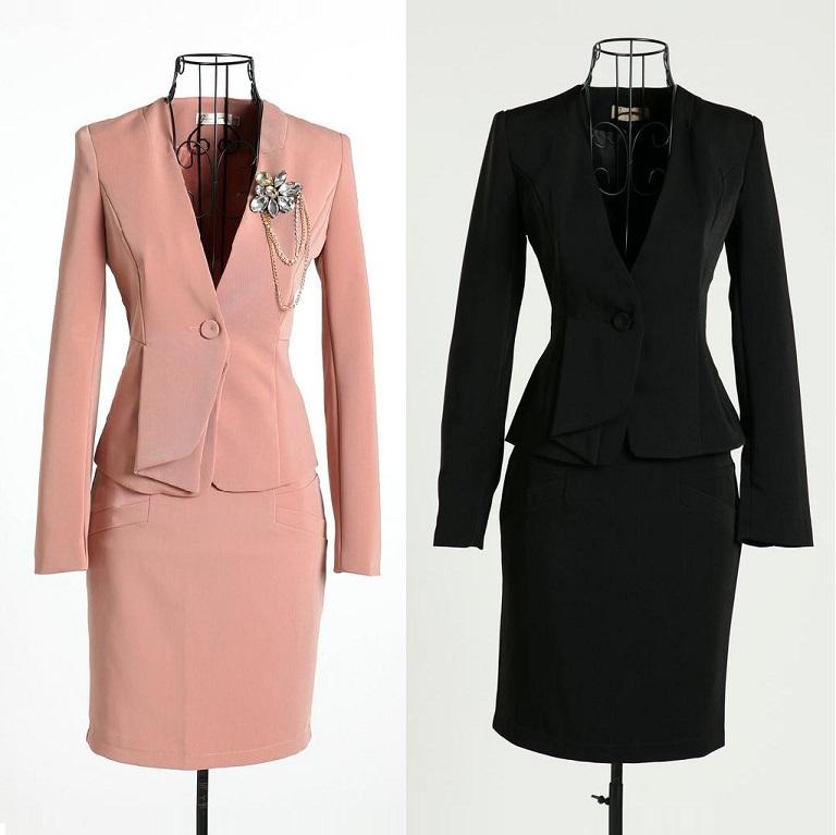 formal pink blazer women skirt suits work wear sets ladies office