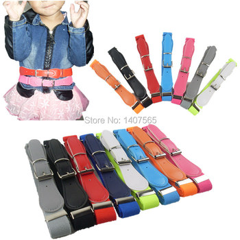 Free Shipping Candy Color 1 Inch Wide Kids/Children Elastic Waist Belt For Boys/Girls