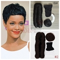 3Pcs Lot Wholesale Price Brazilian Virgin in Hair 27 Pieces Short Hair Weave With Free Closure
