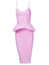 2016 sexy deep summer runway dress ruffles vestido celebrity women dresses knee length two pcs bandage DRESSES dress Package hip(China (Mainland))