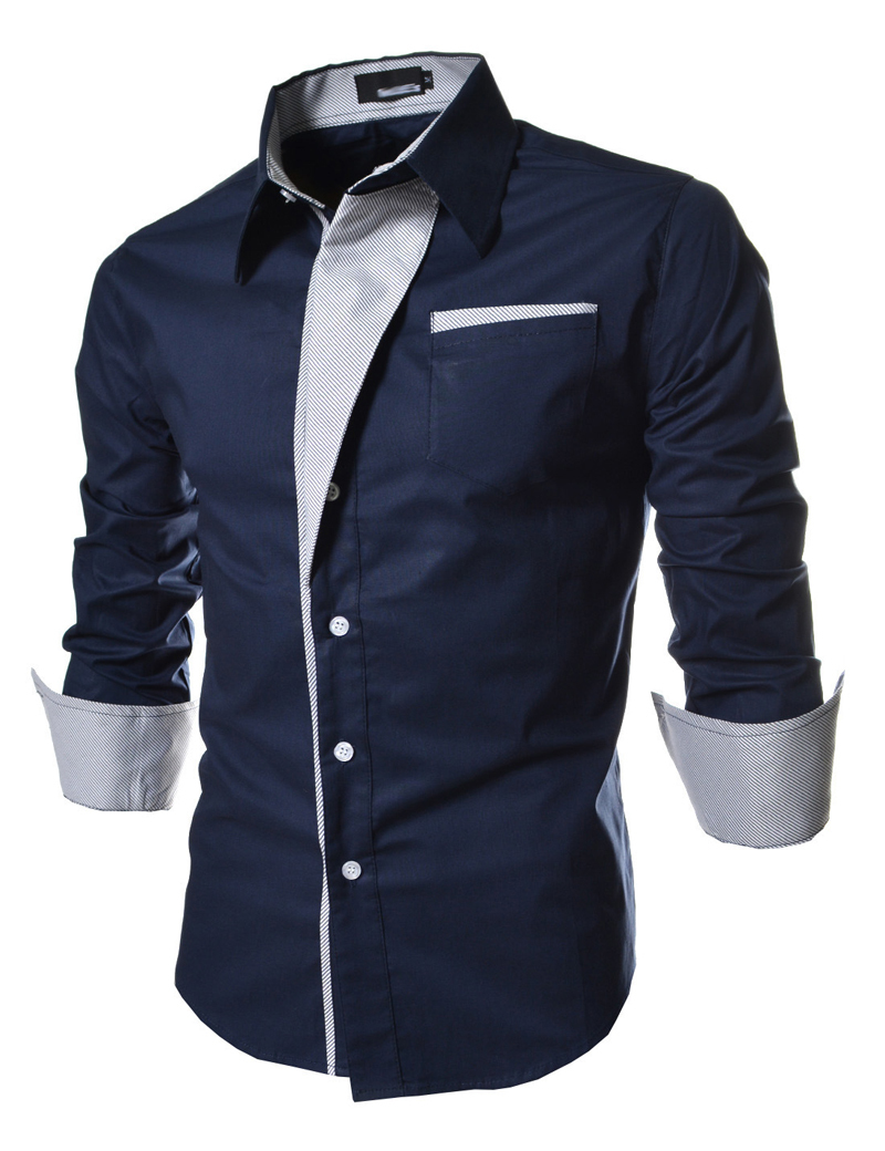 2015 new dress mens slim fit casual blouse unique neckline for Cool mens casual shirts