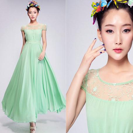 Wholesale New Arrival 2015 summer Plus Size XL fashion korean bohemian maxi long beach chiffon lace dress women green,white(China (Mainland))