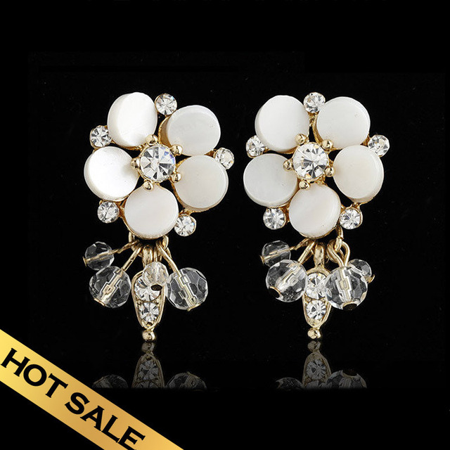 Special Earrings Shell Crystal Fashion Sweet Flowers Design Free Shipping Jewelry EHA2A07