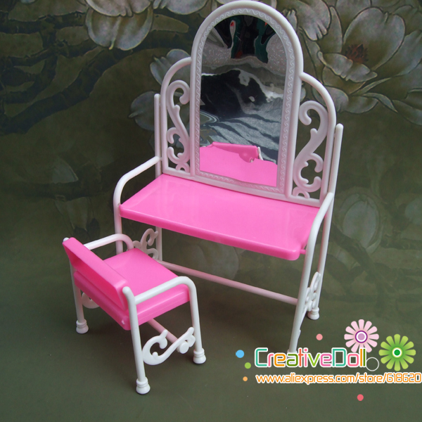 funny toys for baby girls play house toys dresser dressing table with chairs doll house for barbie doll(China (Mainland))