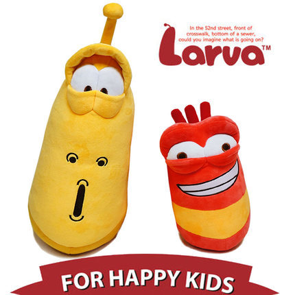 Larva yellow red plush toy stuffed toy(China (Mainland))